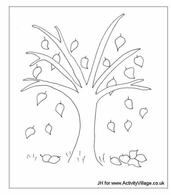 Coloriage arbre en automne - Arbre d automne dessin ...
