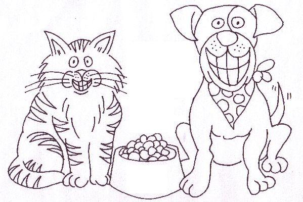 Coloriage chat et chien - Coloriage chien chat ...