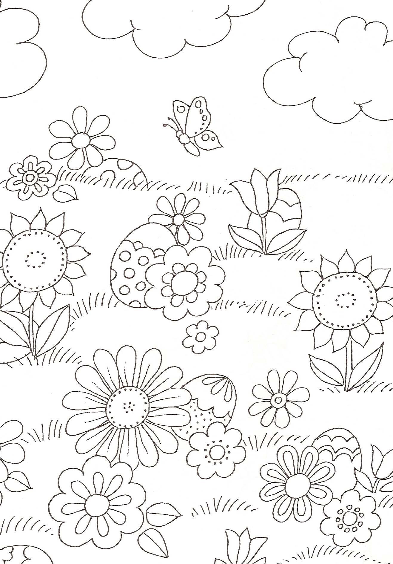 Coloriage Fleur Insecte.Coloriage Fleurs Et Oeufs De Paques