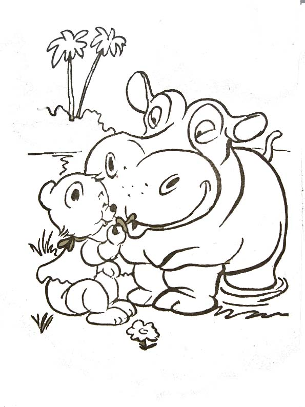 Coloriages animaux sauvages - Dessin d hippopotame ...