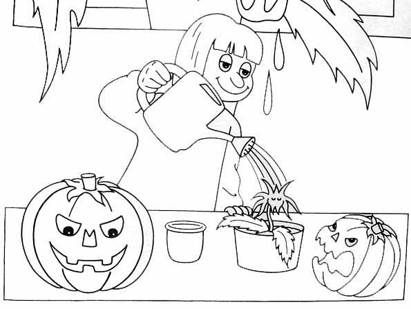 Coloriage jardinier halloween - Dessin jardinier humoristique ...