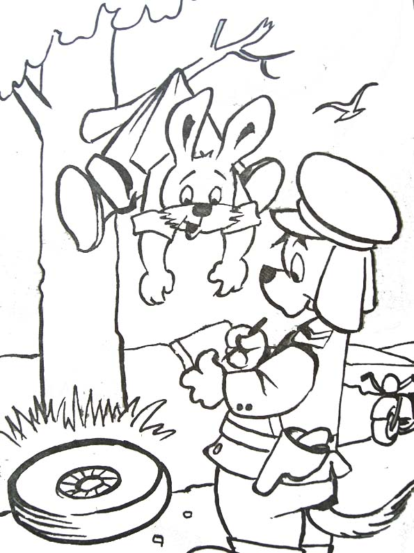 Coloriage lapin et chien policier - Image lapin a imprimer ...