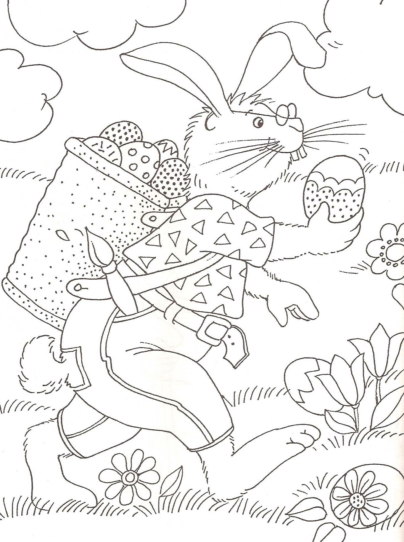 Meilleur de dessin a colorier oeuf paques - Coloriage lapin fleur ...