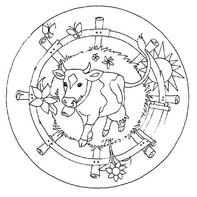 Coloriage De Mandala De Vache.Coloriage Mandala Vache