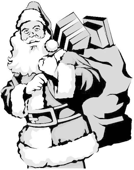 Coloriage Père Noël Et Sa Hotte
