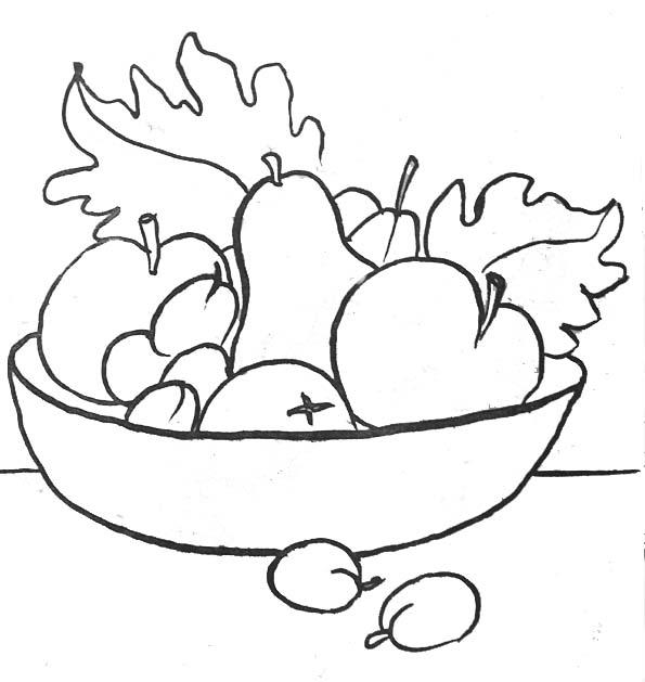 Coloriage plateau de fruits - Dessiner un fruit ...
