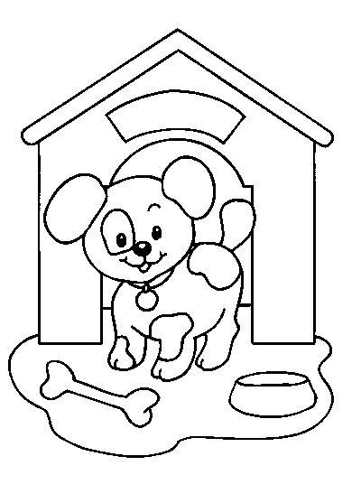chien la niche - Coloriage Chien