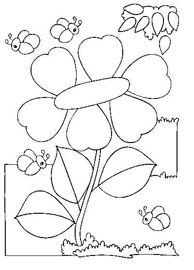 Coloriage Fleur Abeille.Coloriage Fleur Et Abeilles
