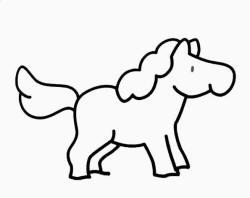 Coloriage jument - Dessin cheval facile faire ...
