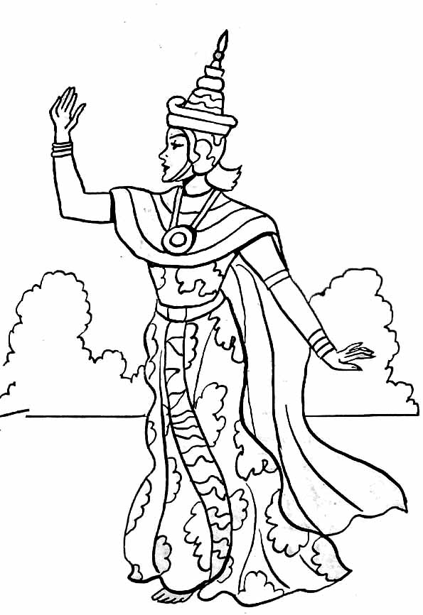Coloriage A Imprimer Danseuse Indienne.Coloriage Reine Indienne