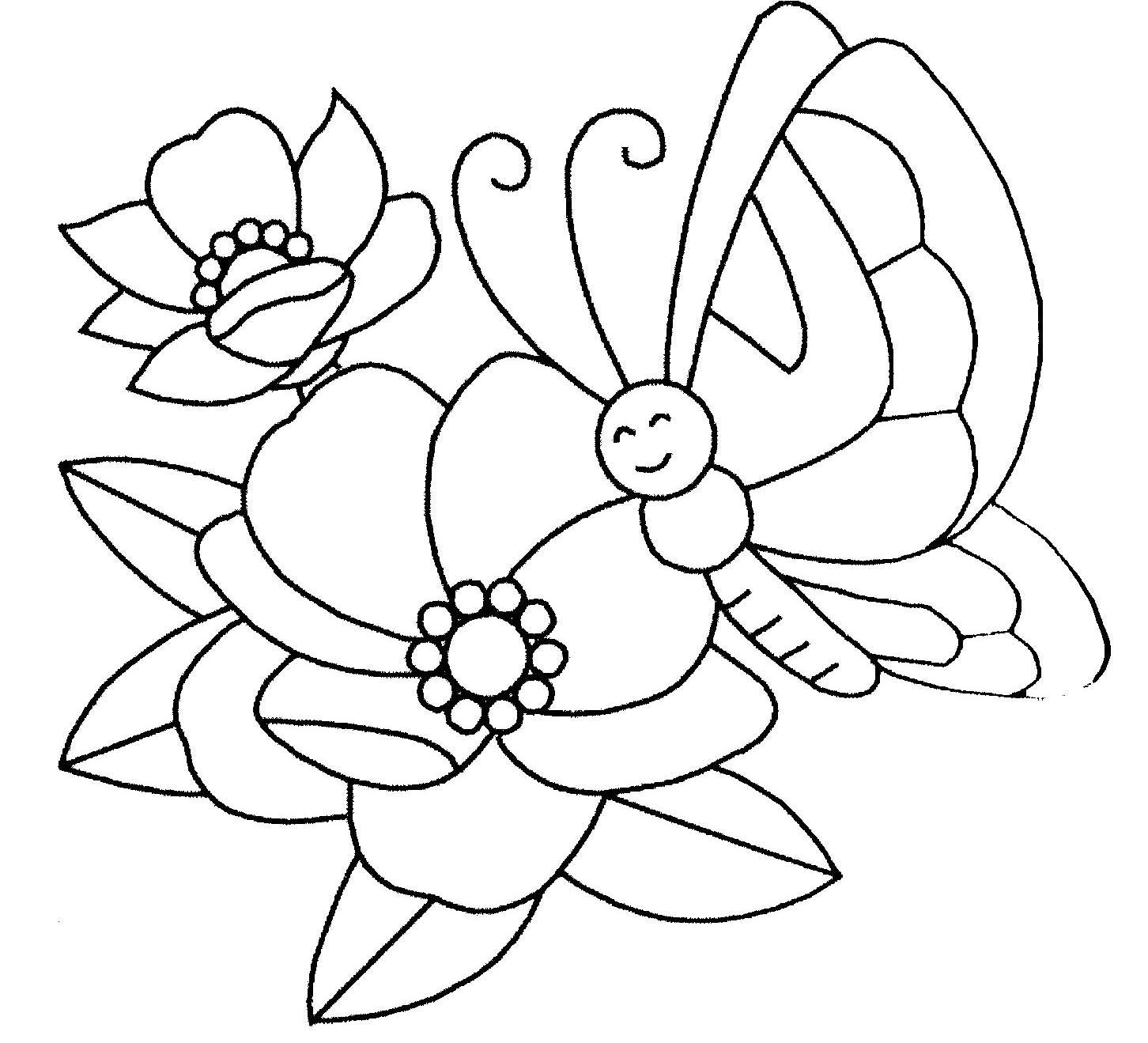 Coloriage Fleur.Coloriage Fleur Et Papillon
