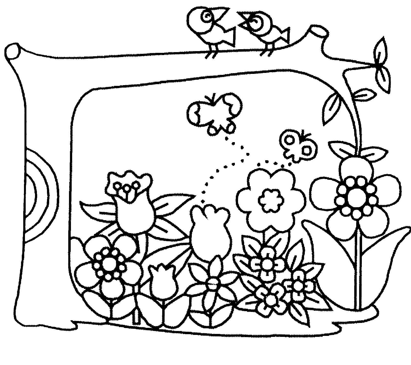Coloriage Jardin Arbres.Coloriage Fleurs