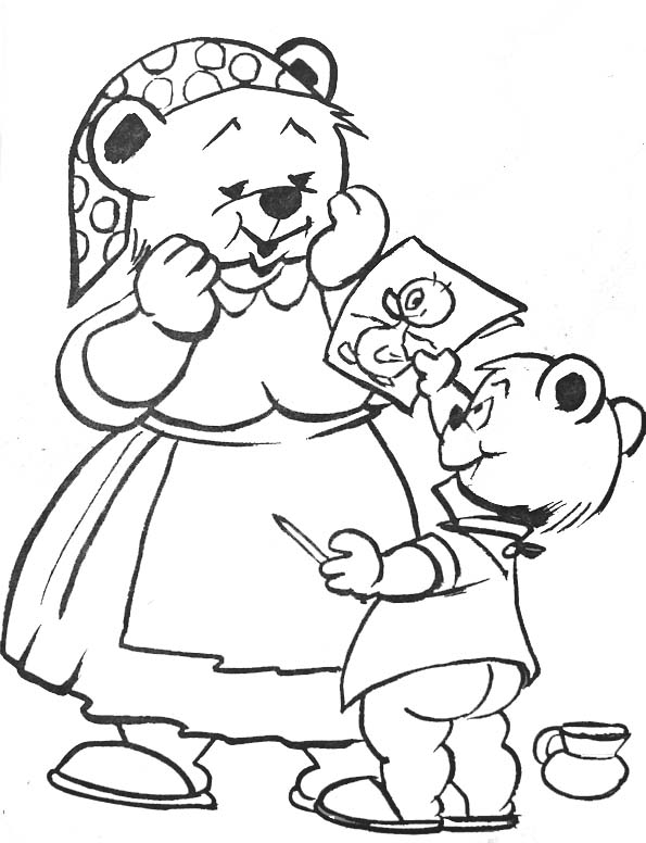coloriage maman et petit ours - Coloriage Maman