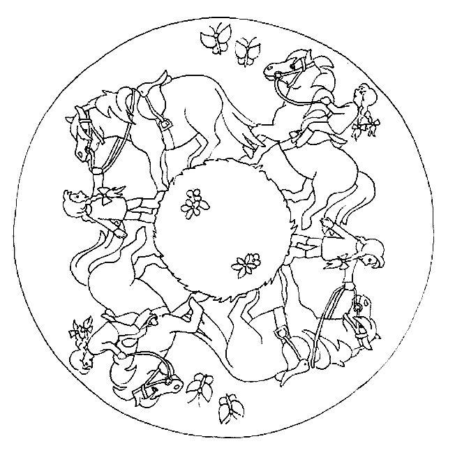 Coloriage mandala chevaux cavalieres - Mandala de chevaux ...