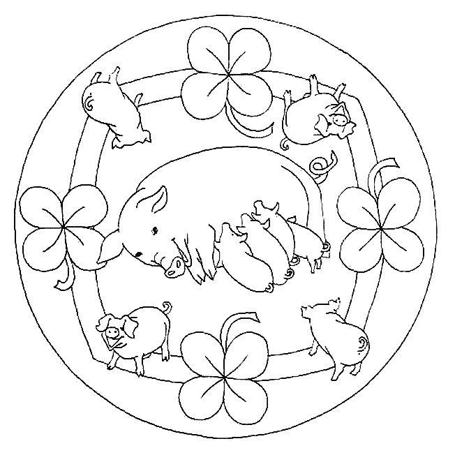 Coloriage De Mandala De Vache.Coloriage Mandala Cochons