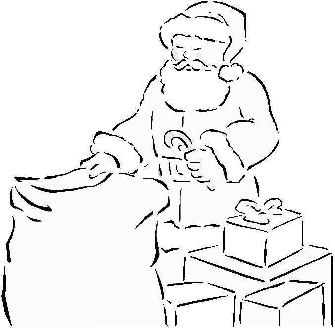Coloriage Père Noël Et Cadeaux