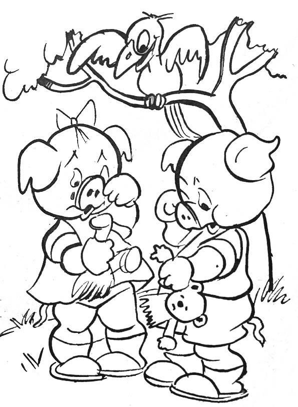 Coloriage petits cochons et corbeau