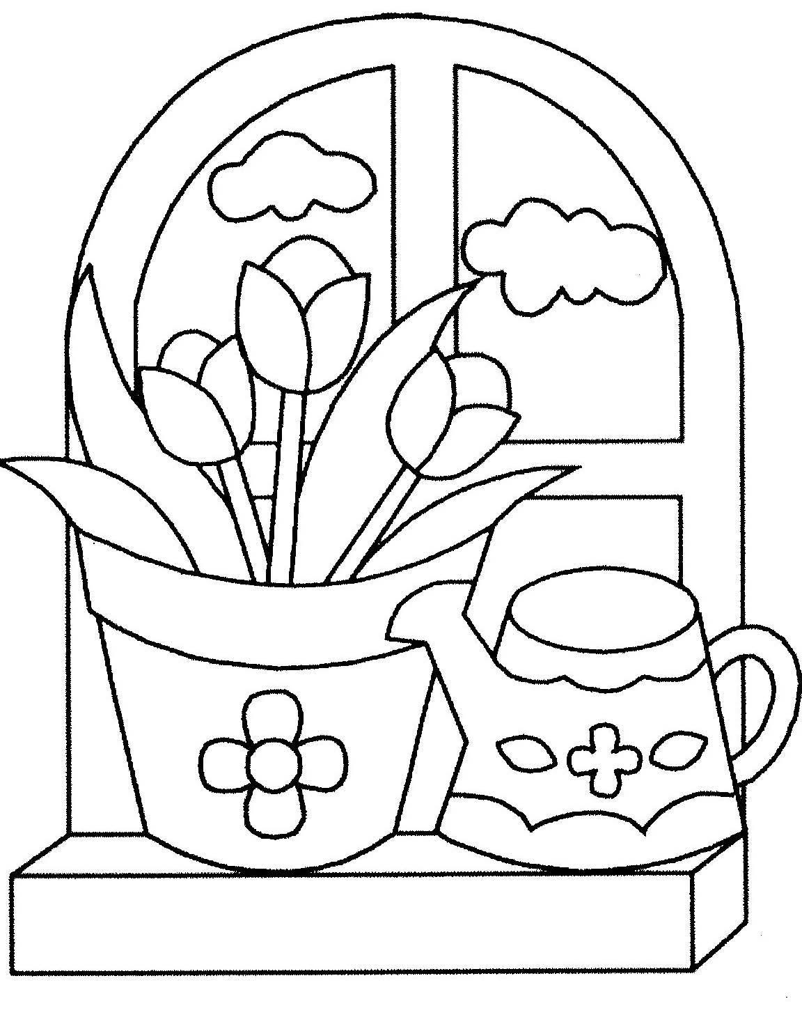 Coloriage Fleur Pot.Coloriage Pot De Fleurs Et Arrosoir