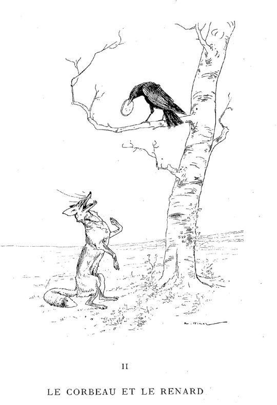 Illustrations fables de la fontaine parlant de corbeau - Coloriage le corbeau et le renard ...