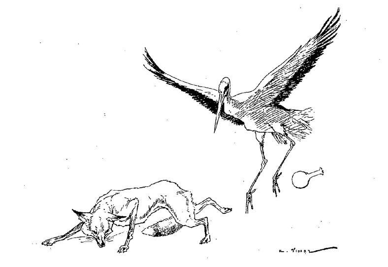 Illustrations fables de la fontaine parlant de cigogne - Dessin le renard et la cigogne ...