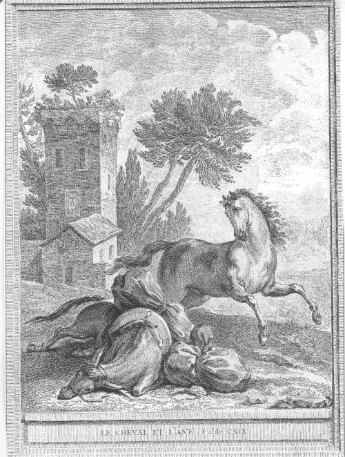 illustrations fables de la Fontaine par Oudry - le cheval et l ane