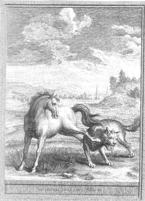 illustrations fables de la Fontaine par Oudry - le cheval et le loup