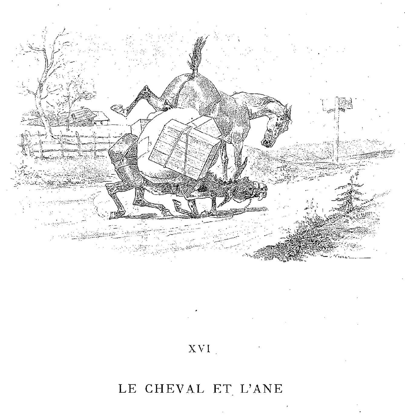 illustrations fables de la Fontaine par Vimar - le cheval et l ane