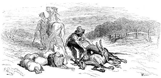 illustrations par Dore des fables de la Fontaine - le cheval et l ane