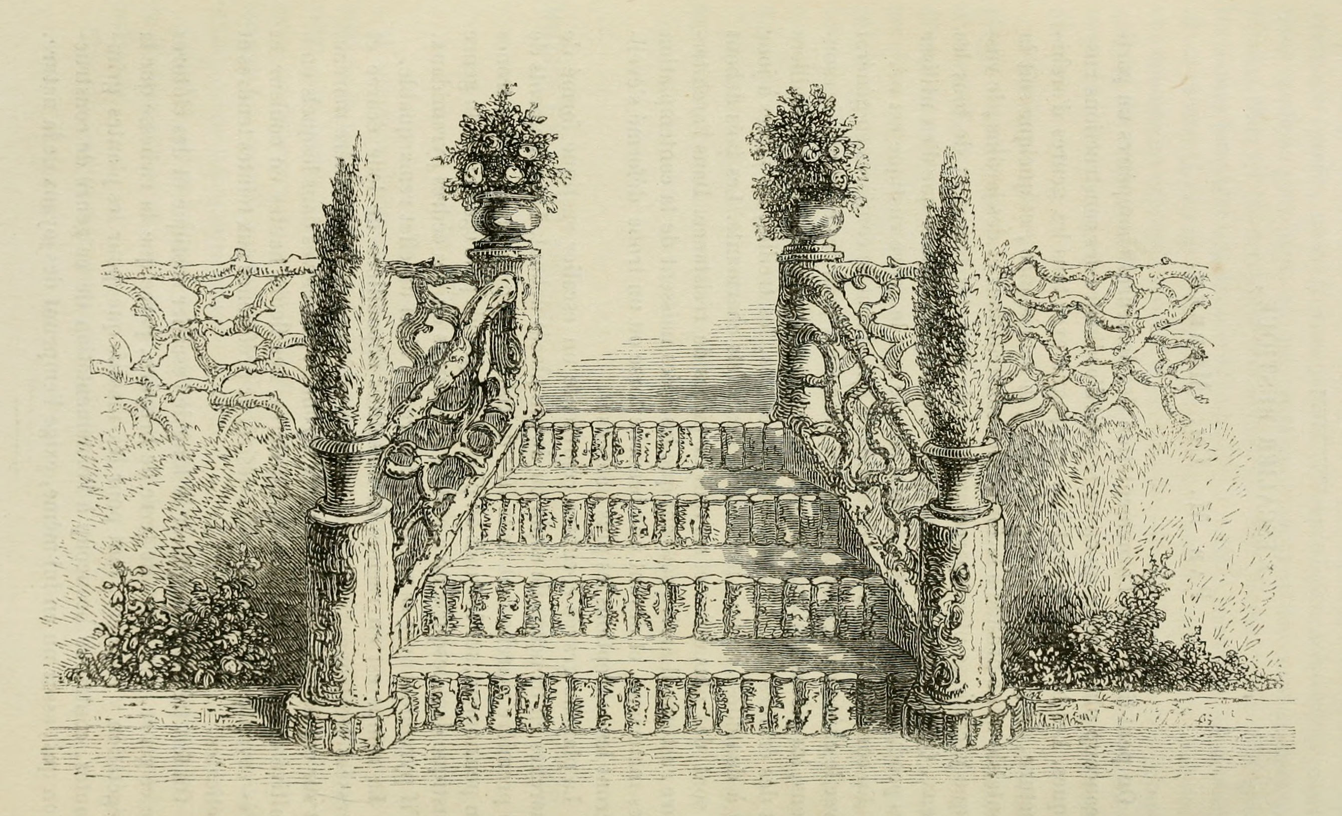 0182 Escalier rustique pour jardin